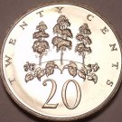 Large Proof Jamaica 1970 20 Cents~Only 12,000 Minted~Mahoe Tree~Free Shipping