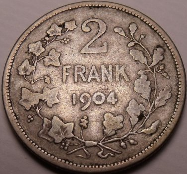 Scarce Rare Silver Belgium 1904 2 Frank~1st Year Ever Minted~Dutch Legend~Fr/Shi