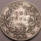 Large Rare East India Company 1840 Silver Rupee~Very Nice~Free Shipping