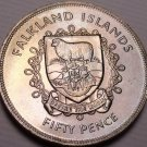 Gem Unc Falkland Islands 1977 50 Pence~The Queens Silver Jubilee~100k Minted~F/S
