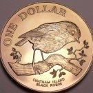 Rare Gem Unc New Zealand 1984 Dollar~65,000 Minted~Chatham Island Black Robin~FS