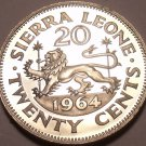 Large Rare Proof Sierra Leone 1964 20 Cents~10,000 Minted~Walking Lion~Free Ship