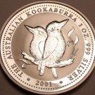 Gem Unc Silver Australia 2001 Dollar~Kookaburra 1 Oz Silver Coin~Excellent~Fr/Sh