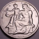 Rare Gem Bu Silver Switzerland 1948-B 5 Francs~TheLord Will Provide~Free Ship