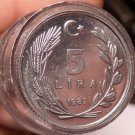 Gem Unc Roll (40 Coins) Turkey 1987 5 Lira Coins~Moon And Star~Free Shipping