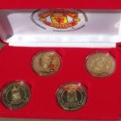 Rare Manchester United 1999 Bronze Proof 4 Coin Treble Winners Set~Excellent~F/S