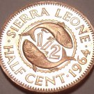 Rare Proof Sierra Leone 1964 Half Cent~10,000 Minted~Double Fish~Free Shipping
