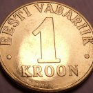 Gem Unc Estonia 2000 1 Kroon~Three Leopards's Stacked Up~Excellent~Free Shipping