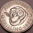 Gem Unc Silver Australia 1958 Shilling~Ram's Head~Excellent~Free Shipping