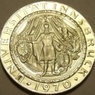 Rare Silver Proof Austria 1970 50 Schilling~Innsbruck University 300th~Free Ship