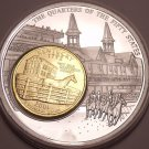 Massive 50mm Silver And Gold Plated Kentucky Derby State Quarter~Awesome~Fr/Ship