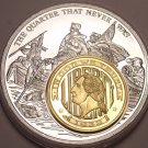 Massive 50mm Silver And Gold Plated The Quarter That Never Was Medallion~Fr/Ship