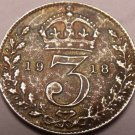 Silver Great Britain 1918 3 Pence~Free Shipping*