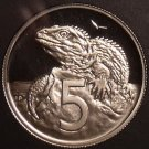 Rare Cameo Proof New Zealand 1986 5 Cents~10,000 Minted~Tuatara~Free Shipping