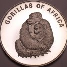 Silver Proof Uganda 2003 1,000 Shillings~Female Gorilla With Infant~Free Ship