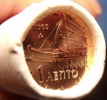 Gem Unc Original Roll (50) Greece 2005 1 Euro Cents~Ancient Athenian Trireme~F/S