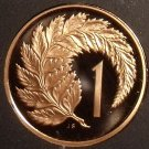 Rare Cameo Proof New Zealand 1985 Cent~12,000 Minted~Silver Fern Leaf~Free Ship