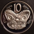 Rare Cameo Proof New Zealand 1986 10 Cents~10,000 Minted~Maori Mask~Free Ship