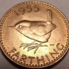 Rare Unc Great Britain 1955 Farthing~We Have Unc Farthings Different Years~Fr/Sh