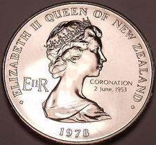 Gem Unc New Zealand 1978 Dollar~Opening Of Parliament Building~Coronation~Fr/Shi