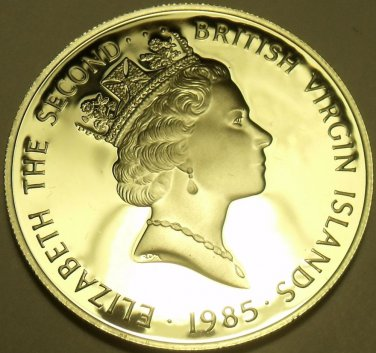 Silver Proof British Virgin Islands 1985 $20.00~Brass Dividers~Free Shipping