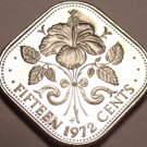 Rare Proof Bahamas 1972 15 Cents~Triangle Coin~Hibiscus~35,000 Minted~Free Ship