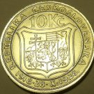 Huge Silver Czechoslovakia 1928 10 Korun~10th Anniv of Independence~Free Ship
