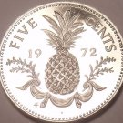 Rare Proof Bahamas 1972 5 Cents~35,000 Minted~Pineapple~Free Shipping