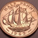 Unc Great Britain 1962 Half Penny~The Golden Hind~Fantastic~Free Shipping