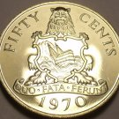 Rare Proof Bermuda 1970 50 Cents~11,000 Minted~1st Year Ever~Free Shipping