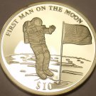 Rare Silver Proof Liberia 2000 $10.00~First Man On The Moon~20,000 Minted~Fr/Shi