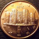 Gem Unc Italy 2010 1 Euro Cent~The Castle DelMonte~Excellent~Free Shipping