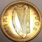 Large Gem Unc Ireland 1968 Penny~Irish Harp~Hen With Chicks~Free Shipping