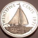 Rare Proof Bahamas 1971 25 Cents~Only 31,000 Minted~1st Year Ever~Sailboat~Fr/Sh