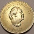 Rare Gem Unc Tonga 1967 50 Seniti~Taufa'ahau Tupou III~Only 75,000 Minted~FR/Shi