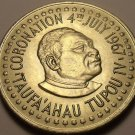 Rare Gem Unc Tonga 1967 Pa'Anga~Coronation Of Tapou IV~13,000 Minted~Free Ship