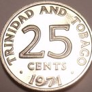 Rare Proof Trinidad And Tobago 1971 25 Cents~Only 12,000 Minted~Free Shipping