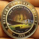 Proof Somalia 1998 25 Shillings~The Titanic Sinks April 15, 1912~Multicolored~FS