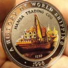 Proof Somalia 1998 25 Shillings~Multicolored Hansa Trading Cog~Free Shipping