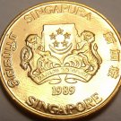 Gem Unc Singapore 1989 Cent~Singapore National Arms~Free Shipping