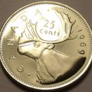 Proof Canada 1969 25 Cents~Caribou Quarter~594,298 Minted~Excellent~Free Ship