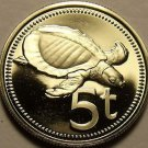 Rare Proof Papua New Guinea 1976 5 Toea~Plateless Turtle~16,000 Minted~Free Shi