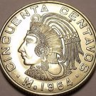 Unc Mexico 1964 50 Centavos~Minted In Mexico City~1st Year Ever~Free Shipping