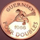 Rare Proof Guernsey 1966 4 Doubles~Only 10,000 Ever Minted~~Free Shipping