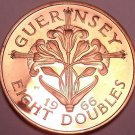 Rare Proof Guernsey 1966 8 Doubles~Only 10,000 Ever Minted~Free Shipping