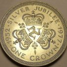 Unc Isle Of Man 1977 Crown~The Queens Silver Jubilee~Triskeles~Free Shipping