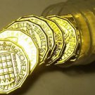 Proof Roll (20) Great Britain 1970 3 Pence Coins~Crowned Portcullis~Last Year~FS
