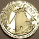 Rare Proof Barbados 1979 25 Cents~Mintage 4,126~Morgan Lewis Windmill~Free Ship