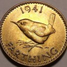 Rare Unc Great Britain 1941 Farthing~Wren~Excellent~Free Shipping