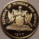 Rare Proof Trinidad & Tobago 1977 Cent~Hummingbird~Only 5,337 Minted~Free Ship